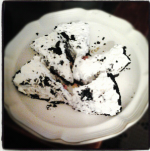 Pieces of Oreo ice cream cake. Yum!