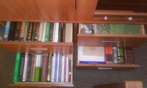 The drawers to knowledge disclosing themselves one by one, step by step. (Each drawer is opened to a certain fraction.)